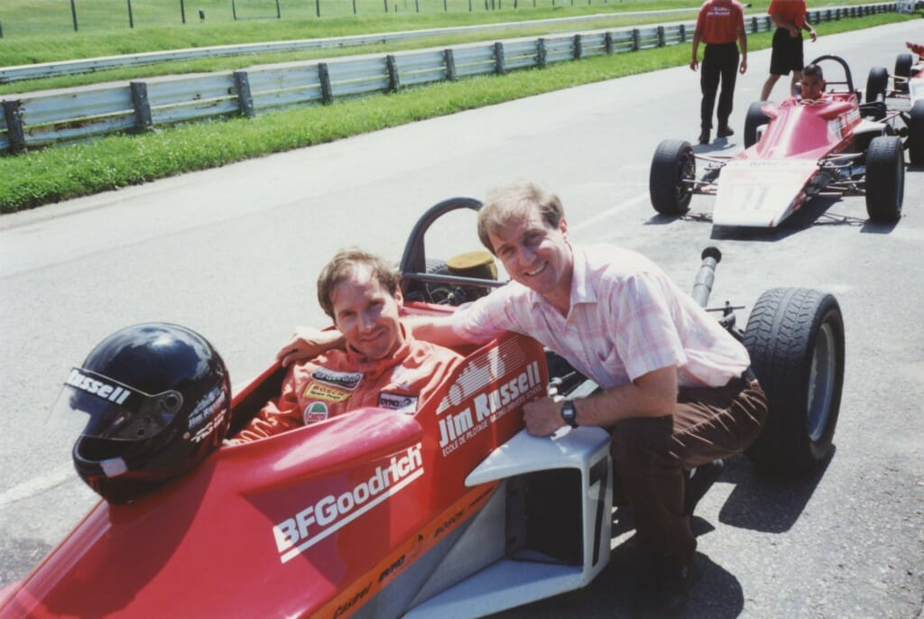 Pietro in the cockpit prepping for production on Super Speedway, with brother Gerardo.