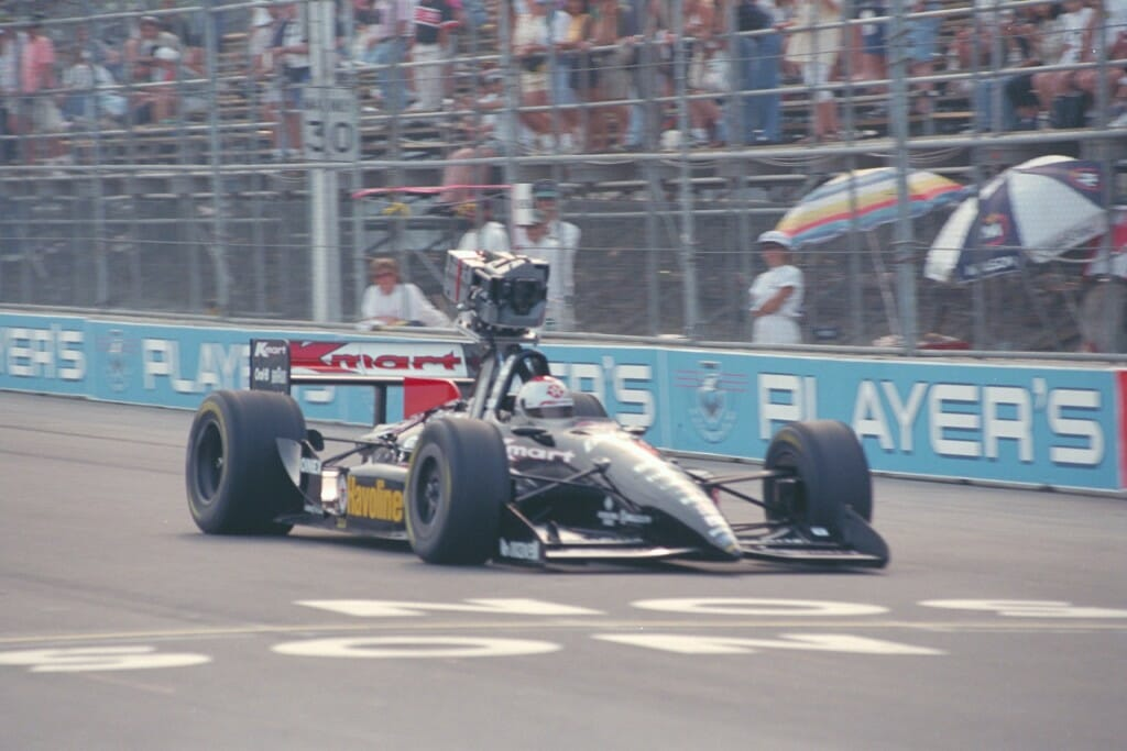 The IMAX-equipped camera car on the track at the Toronto Molson Indy, Mario Andretti at the wheel.
