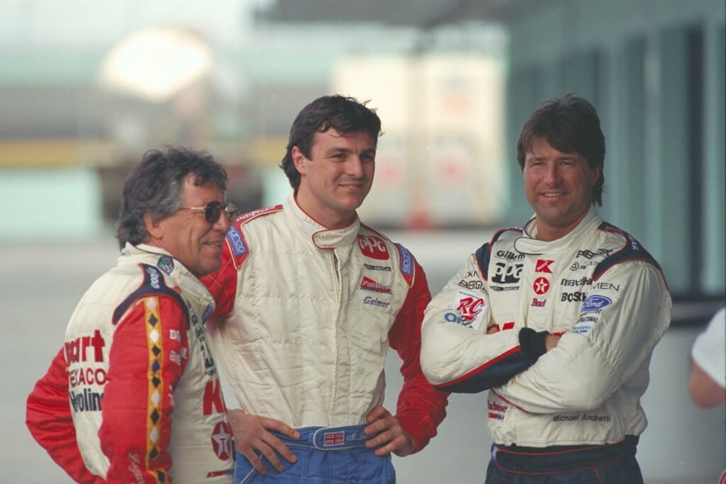 From left: Mario Andretti, Christian Fittipaldi, Michael Andretti. Photo: Patrick Gariup.
