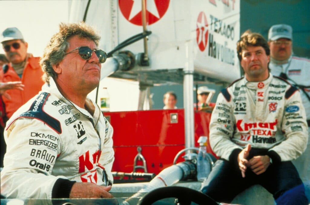 Mario Andretti (left) and Michael Andretti (right).