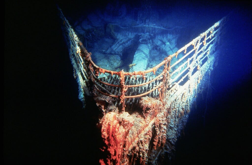 The bow of RMS Titanic at a depth of 12,500 feet, captured for Titanica.