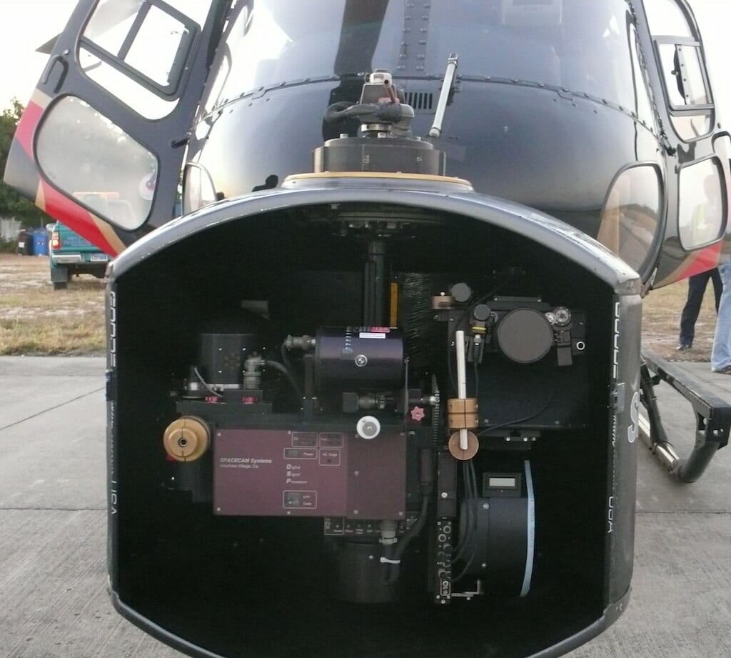 The Spacecam system mounted to an Aerostar helicopter sourced in Puerto Rico for the shoot.