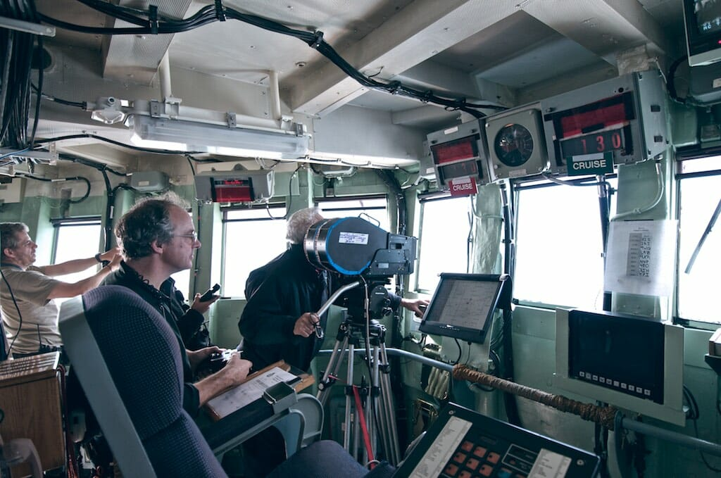 Filming on the bridge of HMCS Athabaskan.