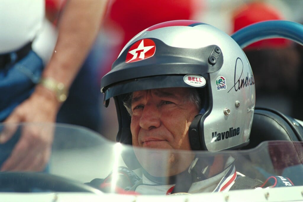 Mario Andretti at the wheel of the restored roadster. Photo: Patrick Gariup.