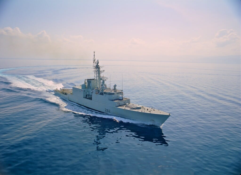 "The Royal Canadian Navy destroyer HMCS Athabaskan in Caribbean waters off Haiti. Image from the giant screen film ""Rescue""."
