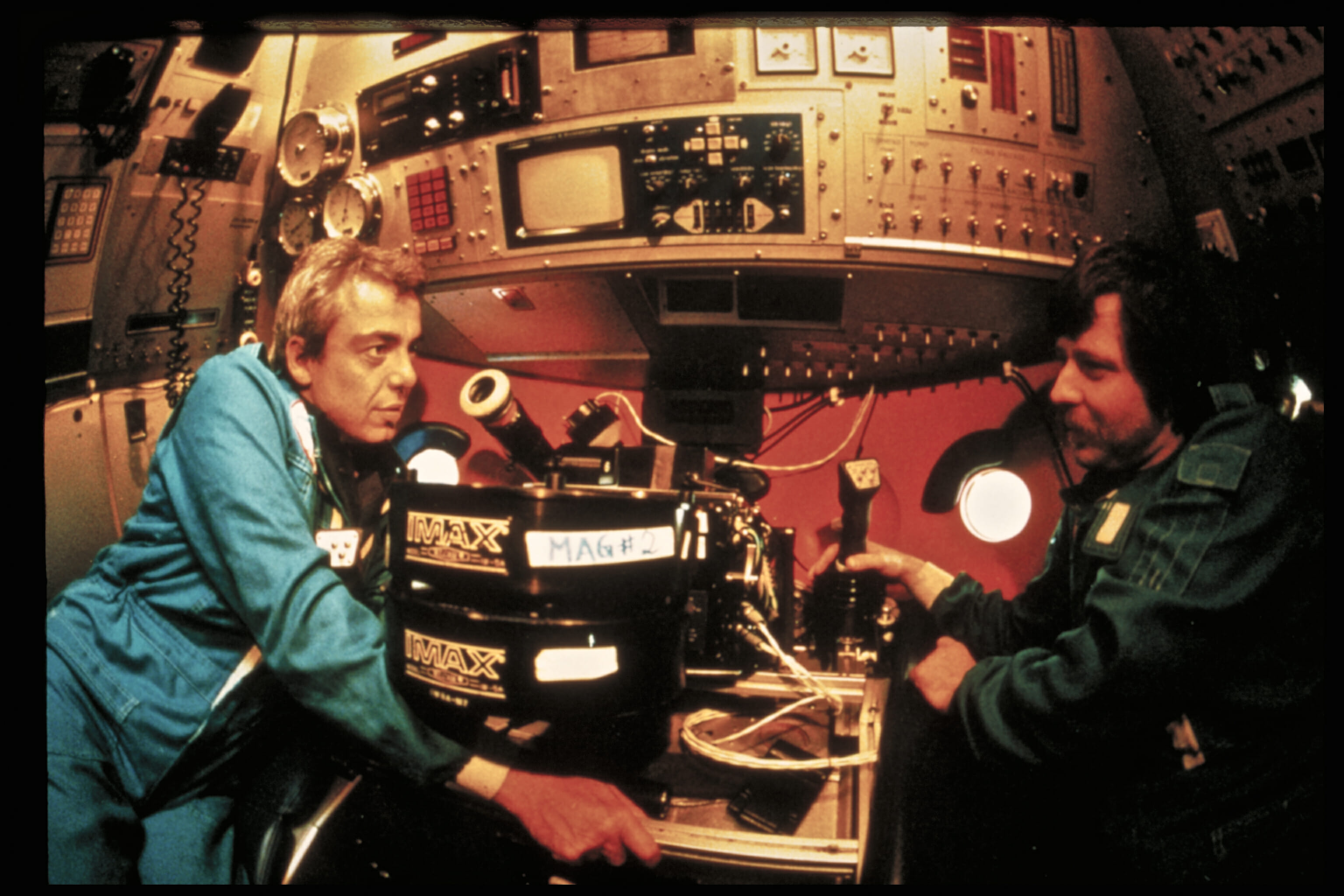 Aboard a Russian Mir submersible during filming for Titanica (1991)